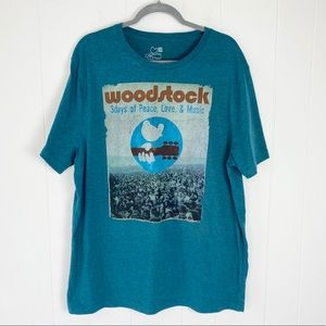 Woodstock Peace Love Music Blue Tee Sz. 2XL